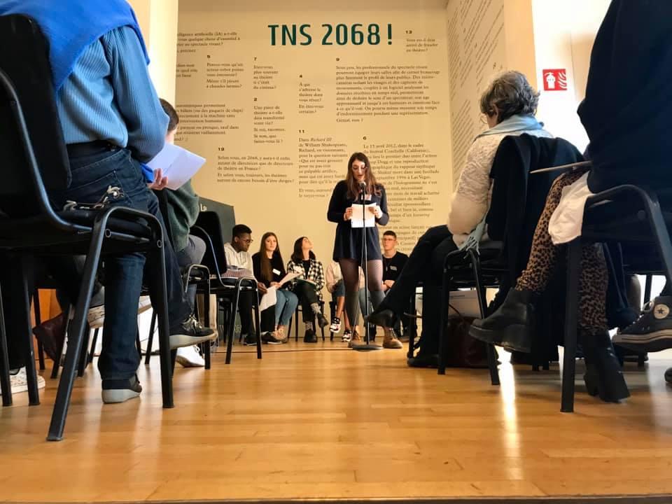 Conférence de presse du Prix Bernard-Marie Koltès du TNS avec une de nos élèves de 2de9